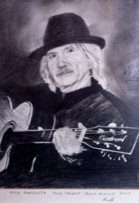 Artwork of an old friend of The Grapes - Mick Rafferty playing a guitar